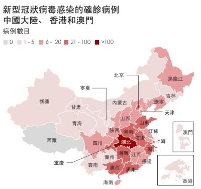 「武漢肺炎」新型冠狀病毒感染確診病例,中國大陸佔最大宗