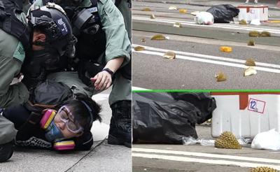 「港版國安法」香港抗爭再起,榴槤殼當路障檔港警催淚彈?