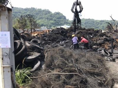 「后里廢輪胎」大火後,首批廢輪胎約300噸合法回收廠處理