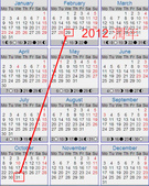 Every year Oct ends on same day of the week as Feb:2012 calendar.jpg