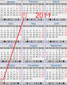 Every year Oct ends on same day of the week as Feb:2011 calendar.jpg