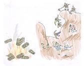 中史報告的插畫:焚書坑儒