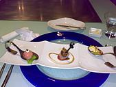 20090119夏慕尼:開胃菜右起鮑魚、鴨肉無花果、燻鮭魚